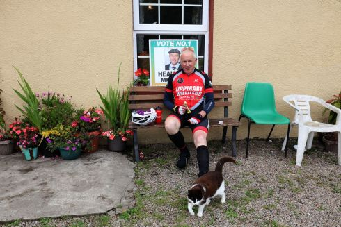 Michael Flynn, Stopping off at Breen's house at Kelly's Cross, Sneem.  Photograph: Valerie O'Sullivan