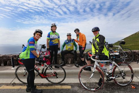 Cyclists, Fiona Garragher, Pauline Wells, Alan Clarke, Rebecca Clarke, Caitriona O'Brien, taking part in the 33rd Annual Ring of Kerry Charity Cycle.  Photograph: Valerie O'Sullivan