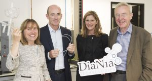 DiaNia investors Helen Ryan, Gearóid Faherty and Ian Quinn, pictured with chief executive Sinead Kenny (third right).