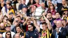 Kilkenny's Lester Ryan lifts the Bob O'Keefe trophy. Photograph: Ryan Byrne/Inpho