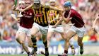 Kilkenny's Walter Walsh tries to get away from Galway's Cathal Mannion and Johnny Coen. Photograph: Ryan Byrne