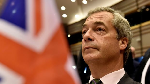 "Nigel Farage, the leader of the United Kingdom Independence Party, attends a plenary session at the European Parliament on the outcome of the ""Brexit"" in Brussels, Belgium, June 28, 2016. Photograph: Reuters"