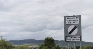 A sign saying welcome to Northern Ireland is seen on the border of Armagh and Louth in Ireland. Photograph: Clodagh Kilcoyne/Reuters