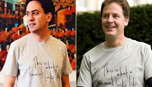 "Ed Miliband and Nick Clegg drew scorn for wearing ""This is what a feminist looks like"" T-shirts"