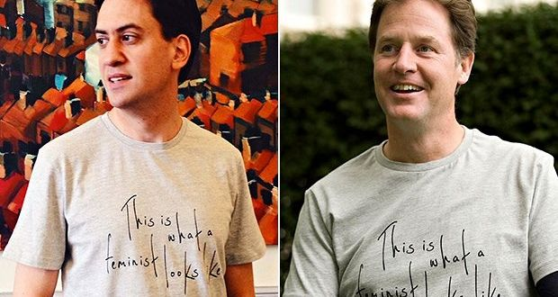 What can we do about masculinity in crisis ed miliband and nick clegg drew scorn for wearing this is what a feminist looks fandeluxe Image collections