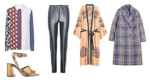 Clockwise from bottom left, gold block heels, €114 from Topshop; Victoria by Victoria Beckham printed shirt, €365 at Brown Thomas; Isabel Marant Étoile faux leather trousers, €190; H&M beaded Kimono, €79.99; Penneys check coat, €40