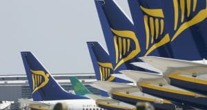 Ryanair rose earlier in the session after reporting positive June traffic data, but closed down 3.3 per cent. Photograph: Alan Betson / The Irish Times