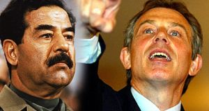 Saddam Hussein and Tony Blair: By the time Blair visited George W Bush at his estate in Crawford, Texas, in April 2002, British thinking about Iraq had hardened. Intelligence chiefs told Blair that Saddam could not be removed without an invasion but that Iraq must disarm or be disarmed.