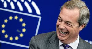 Former leader of Ukip Nigel Farage: his term as an MEP will officially end in the spring of 2019 when the next European Parliament elections take place. Photograph:  Frederick Florin/AFP/Getty Images