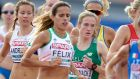 Fionnuala McCormack (centre) running in the 10,000m final at the  European Athletics Championships in Amsterdam. Photograph: Karen Delvoije/Inpho