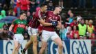 Galway's Thomas Flynn celebrates with Damien Comer after scoring the winning goal in the Connacht football semi-final againt Mayo. Photograph: Lorraine O'Sullivan/Inpho