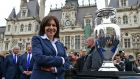 Mayor of Paris Anne Hidalgo next to the Euro 2016 trophy in Paris. Photograph: Frederic Stevens/Getty Images