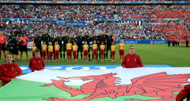 46d3599a38f Welsh players line up before the UEFA Euro 2016, semi-final match at the