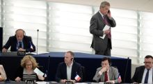 In his latest two-fingers to Europe, Nigel Farage combines a voting session at the European Parliament, where he is an MEP, with a telephone call, which is very basic back-of-the-class behaviour