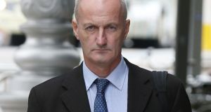 Seán Carraher (55), of Stradbrook Hill, Blackrock, Dublin, arrives at the Dublin Circuit Criminal Court where he has pleaded not guilty to harassing Garda Sgt Conor Gilmartin between March 2009 and May 2011. Photograph: Collins Courts.