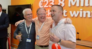 David Doherty, John Brady and Craig Shearer of the Dublin Bus Euromillions winning syndicate. Mr Shearer (right) says he is out of the danger zone after being diagnosed with cancer in 2014. Photograph: Alan Betson/The Irish Times