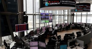 Euronext Stock Exchange,  Paris: European markets made gains on Thursday, ending a three-day slide with London's FTSE up 1.09 per cent. The CAC in Paris rose 0.8 per cent and Germany's Dax was 0.49 per cent higher. Photograph: Thomas Samson/AFP/Getty