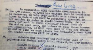 "Nazi escape route: a secret memo on escape lines through Madrid detailing a safe house operated by ""Susan"", which could have been a code name for Margaret Kearney Taylor's Embassy tea room"