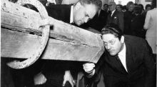 Patrick Moore, director at the  Armagh Planetarium, and  Brian Lenihan, Minister for Education, at the scientific exhibition in Birr celebrating the centenary of the great telescope which was, in its day, the largest in the world. Photograph: Gordon Standing / The Irish Times