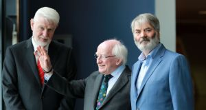 Insider: David Begg (left) with President Michael D Higgins and Prionsias de Rossa at a conference in June with the theme 'A Just Recovery?' Photograph: Nick Bradshaw