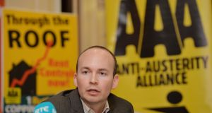 Anti-Austerity Alliance TD Paul Murphy.  The car is still speeding along and he is in no danger of catching it. Photograph: Alan Betson / The Irish Times