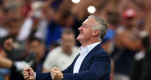 France coach Didier Deschamps reacts following Antoine Griezmann's second goal in the Euro 2016 semi-final against Germany in Marseille. Photograph:  Franck Fife/AFP/Getty Images