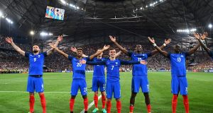 Scorer of both goals against Germany in the semi-final, Antoine Griezmann (number seven), celebrates with his France team-mates in Marseilles. Photograph: Getty.