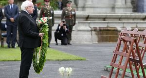 President Michael D Higgins lays a wreath during a ceremony to mark the Battle of the Somme Centenary at the Irish National War Memorial Gardens in Islandbridge, Dublin. Photograph: Brian Lawless/PA Wire.
