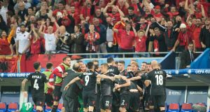 Albania pulled of a famous result as they beat Romania, their first ever win at a major tournament. Photograph: Getty