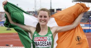 Ireland's Ciara Mageean celebrates after winning the bronze medal in the 1500m  at the European Athletics Championship in Amsterdam. Photograph:  Karel Delvoije/Inpho