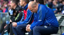 Waterford Manager Derek McGrath  near the end of the Munster final. Photograph: Ryan Byrne/Inpho