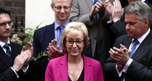 Andrea Leadsom  after she withdrew from the race to be the next leader of the Conservative Party and British prime minister  on Monday. Photograph:  Carl Court/Getty Images