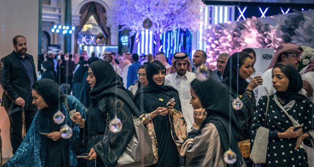 Saudi women attend the American Express World Luxury Expo in Riyadh on March  30th. Photograph