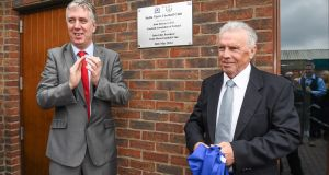 FAI chief executive John Delaney with John Giles  at the opening of a new pitch at  Stella Maris FC's Clubhouse in  Drumcondra, Co Dublin in 2014. Photograph:Matt Browne/Sportsfile