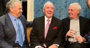 "John Giles with the late  RTÉ sports presenter Bill O'Herlihy and Eamon Dunphy at launch of his O'Herlihy's autobiography ""We'll leave it there so"" in 2012. Photograph: Bryan O'Brien/The Irish Times"
