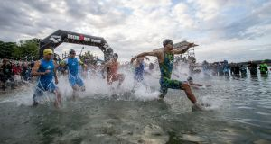 The swim leg during the Ironman European Championships.