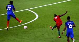Eder  scores the winning goal for Portugal during the Euro 2016 final against France. Photo: Alex Livesey/Getty Images