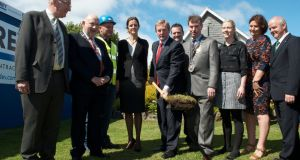 An Taoiseach Enda Kenny at the turning of the sod at the Sacred Heart Hospital Castlebar. Photo: Alison Laredo