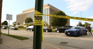 The Berrien County Courthouse is cordoned off as Michigan State Police investigate the crime scene on Monday. Photograph: Mark Bugnaski/Kalamazoo Gazette via AP