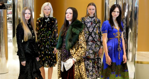 (L-R) Alicia Kavanagh wears Erdem coat, Teodora Sutra wears Gucci, Louise Byrne wears Dries Van Noten, coat, top and trousers Tabea Weyrauch wears Erdem dress and Maria Boardman wears Gucci dress. Photograph: Cyril Byrne