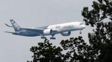 Airbus A350 performs near-vertical take-off