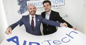 Joseph Thompson	AID:Tech	chief executive and Niall Dennehy	chief digital officer and co-founder of Aid:Tech, finalists in the fintech category of the Irish Times Innovation Awards 2016. Photograph: Conor McCabe.