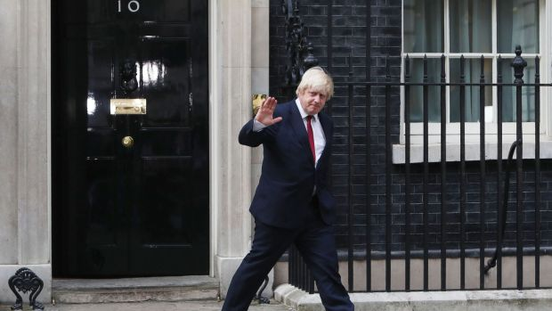 Boris Johnson leaves 10 Downing Street, central London, after being appointed Foreign Secretary. Photograph: Steve Parsons/PA Wire