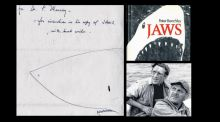The Jaws first edition also included a drawing by the author, Peter Benchley. The book's popularity was boosted by the film (bottom right)