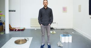 David Beattie, with his work The Impossibility of an Island (2016). Courtesy of the  Hennessy Art Fund for Imma Collection, 2016