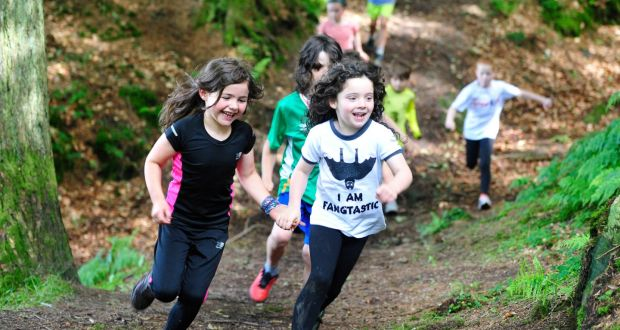 Children running with the Trail Kids group in Cruagh Woods in the Dublin  mountains. Photograph f5b9ae616