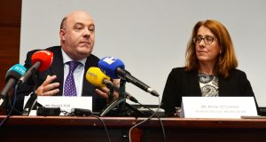 David Hall, interim CEO of Console, and Anne O'Connor, HSE national director mental health, at a joint press conference in Dublin. Photograph: Alan Betson