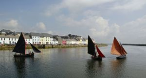 Traditional sailboats off Long Walk in the Claddagh Basin in Galway city. The city has been named European City of Culture 2020.  Photograph: Joe O'Shaughnessy.