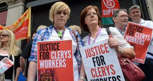 Former Clerys workers Emily McDermott (35-years' service) and her daughter Nathania (seven-years' service) at a demonstration outside the store just after it closed. Photograph: Eric Luke/The Irish Times