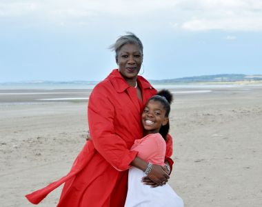 Princess Khumalo: with daughter Ivana at the beach near Mosney refugee centre, where they share a small house. Photograph: Alan Betson